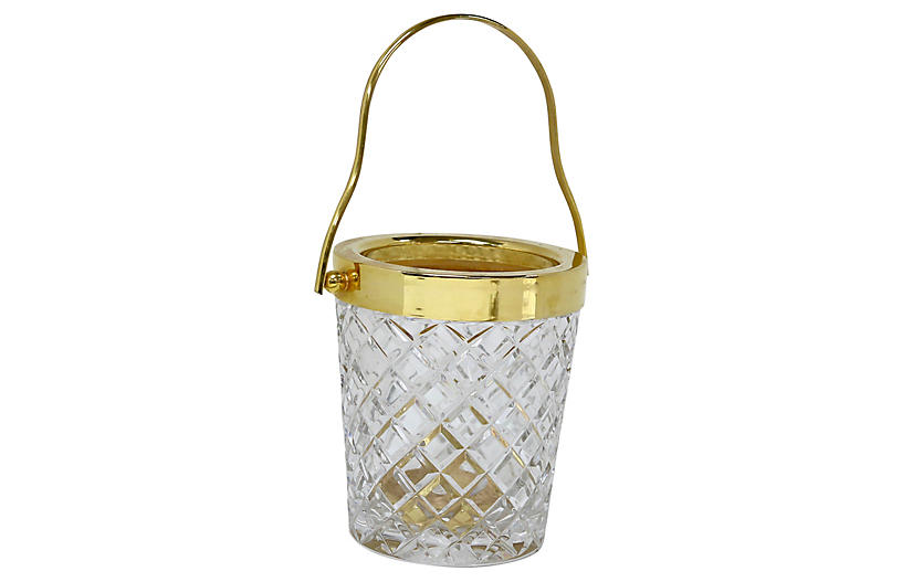 1950s French Crystal & Gilded Ice Bucket