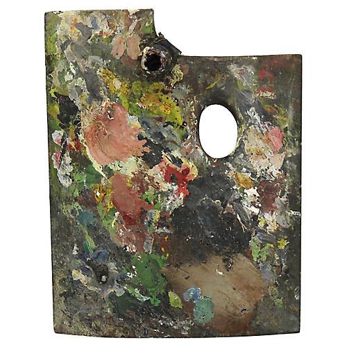 French Artist Palette w/Turpentine Pot