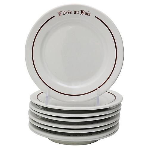 French Paris Bistro Dessert Plates, S/8