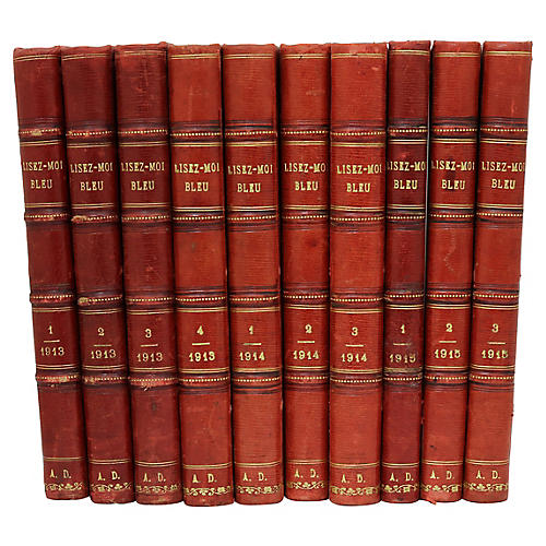 French Leather-Bound Books, S/10