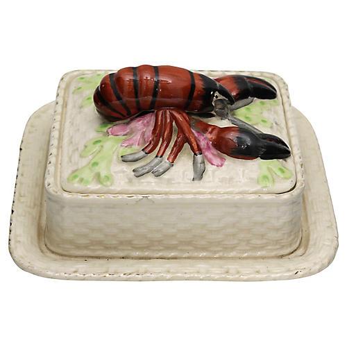Antique English Majolica Lobster Dish
