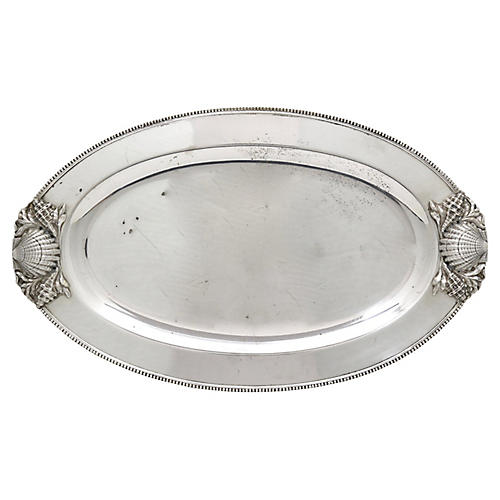 Silver-Plate Shell Serving Tray