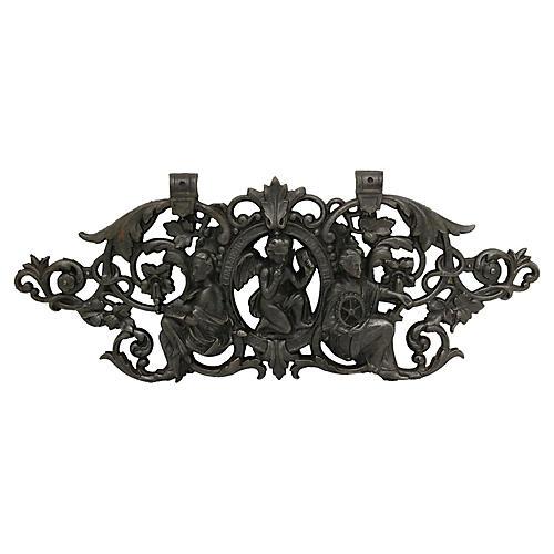 Antique French Cast Iron Cherub Pediment