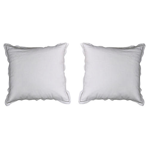 "Antique French Linen ""PR"" Pillows, Pair"