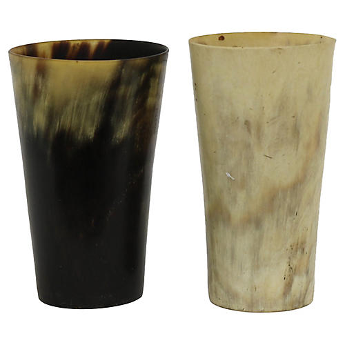 Antique English Horn Highball Cups, Pr