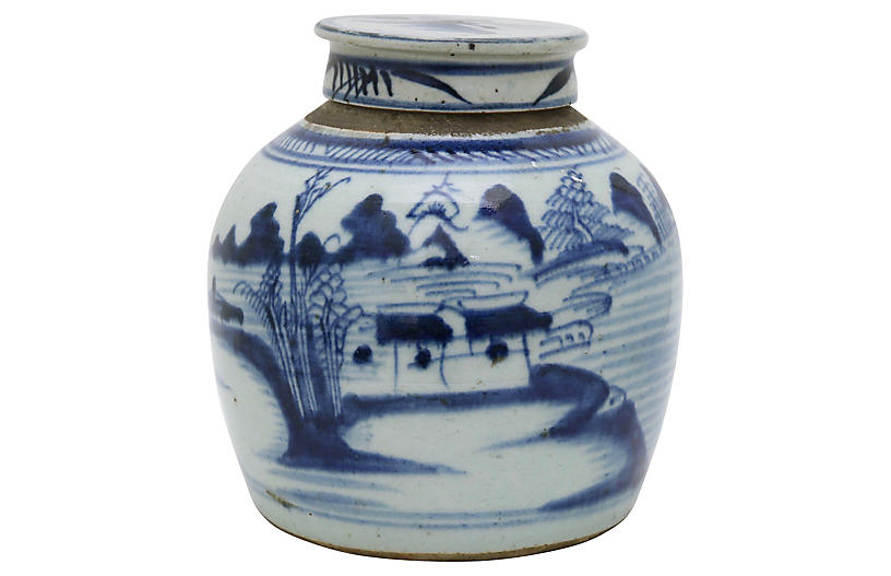 Antique Chinese Export Ginger Jar w/Lid