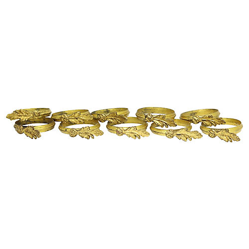 Antique French Brass Curtain Rings, S/10