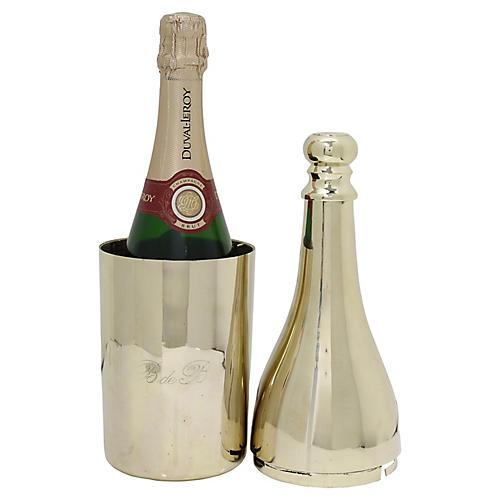 French Brass Champagne Bottle Holder