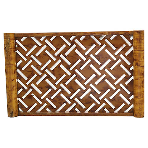 French Art Deco Mirrored Bamboo Tray