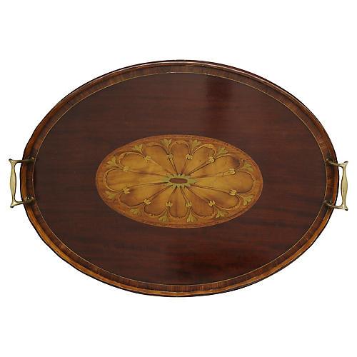 English Inlaid Wood Tray