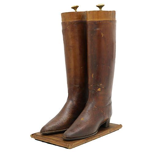 Antique Ladies Riding Boot Shop Display