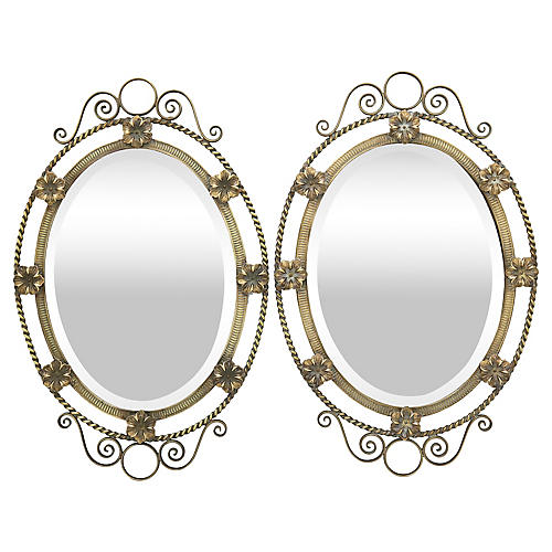 Antique French Mirrors w/ Flowers, Pair