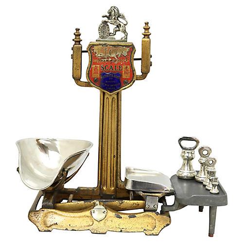 Antique English Shop Scale w/ Lion