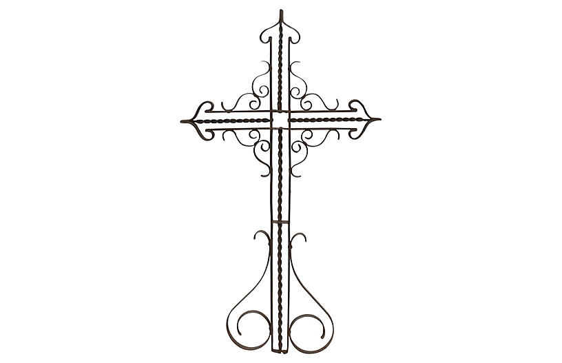 Antique French Wrought Iron Gothic Cross