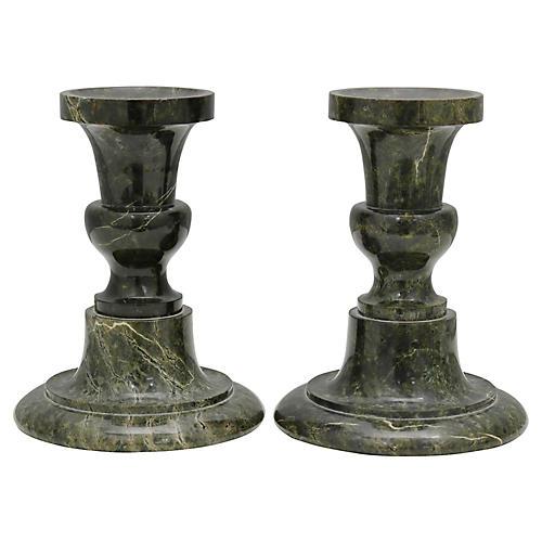 Serpentine Marble Candlesticks, Pair