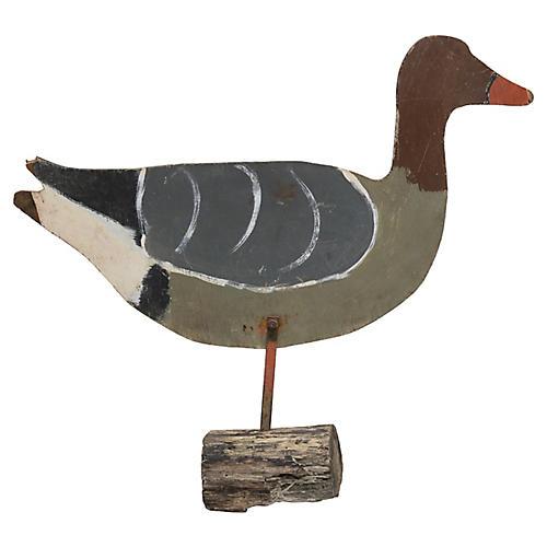Folk Art Painted Duck Garden Ornament