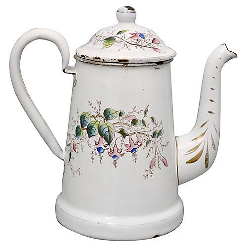 1920s French Enamel Floral Coffee Pot