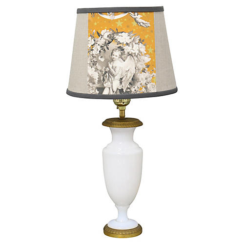 French Opaline Glass Lamp, Custom Shade