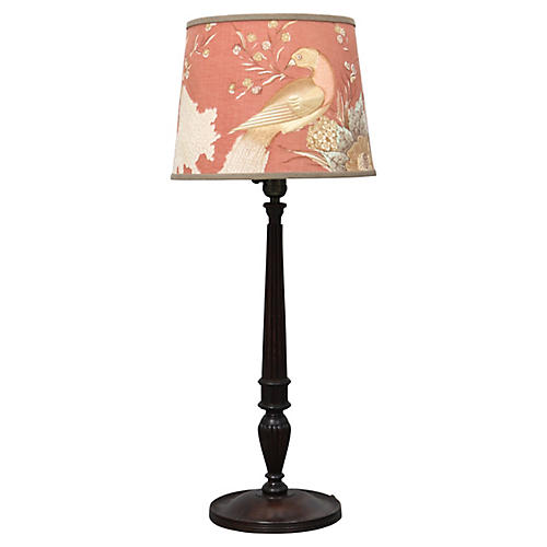Antique English Lamp w/ Custom Shade