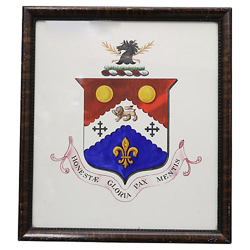Antique English Coat of Arms Watercolor
