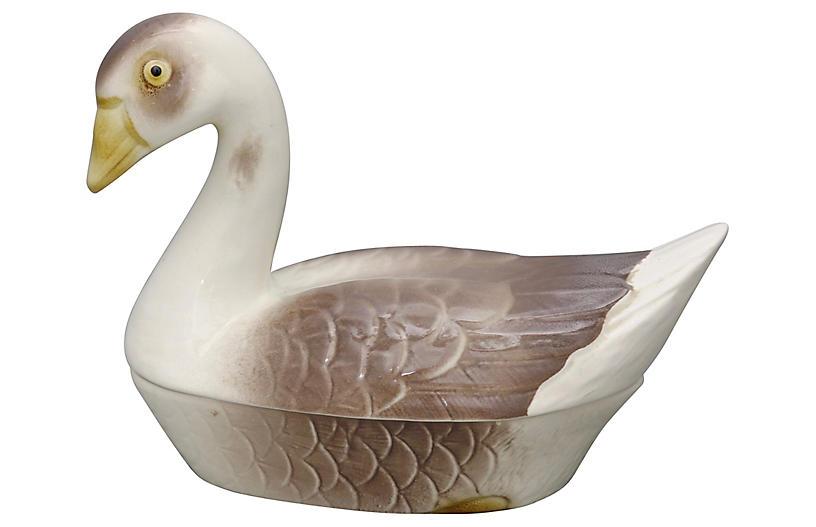 French Majolica Goose Pâté Tureen