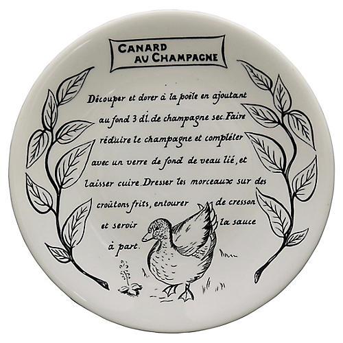 Gien Duck Champagne Paté Recipe Plate