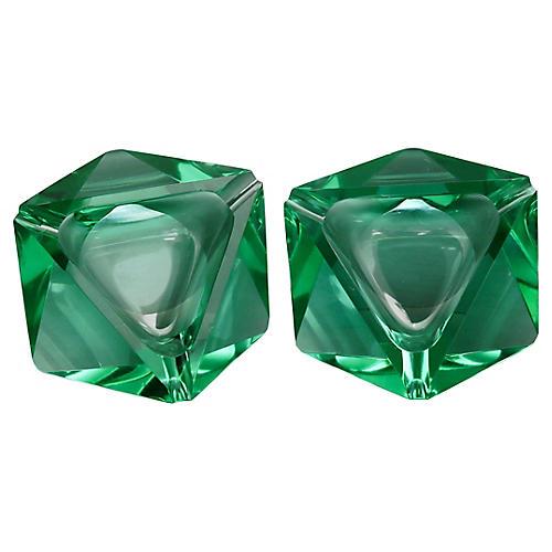 French Emerald Cut-Crystal Ashtrays, S/2