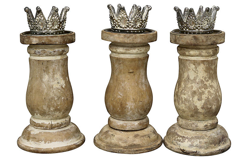 Antique Crowned Candleholders, S/3