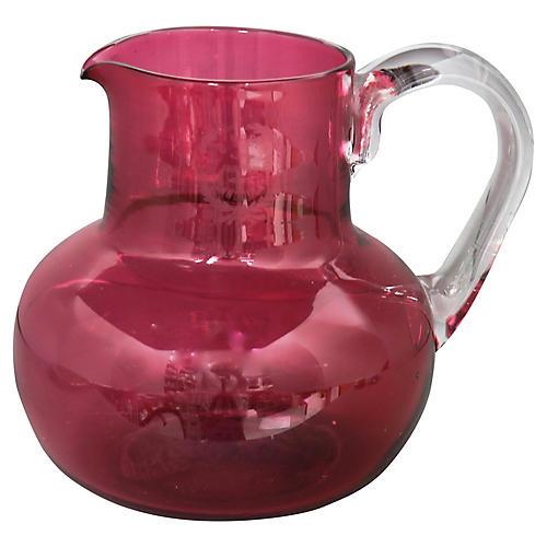 Antique Cranberry Water Jug w/Pub Logo