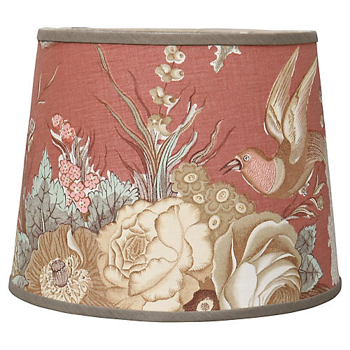 French Linen Lampshade w/ Birds