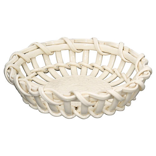 Antique French Creamware Basket