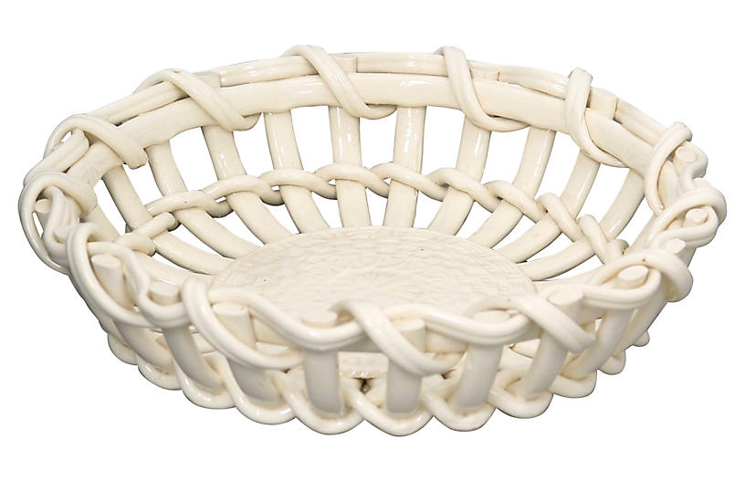 Antique French Creamware Basket
