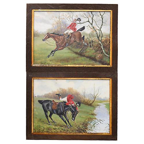 Antique English Hunt Scene Watercolor,Pr