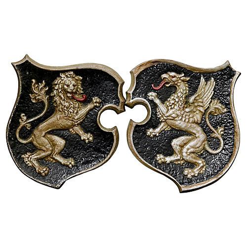 Antique English Metal Crests, Pair
