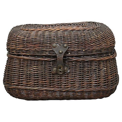 Antique French Wicker Storage Basket