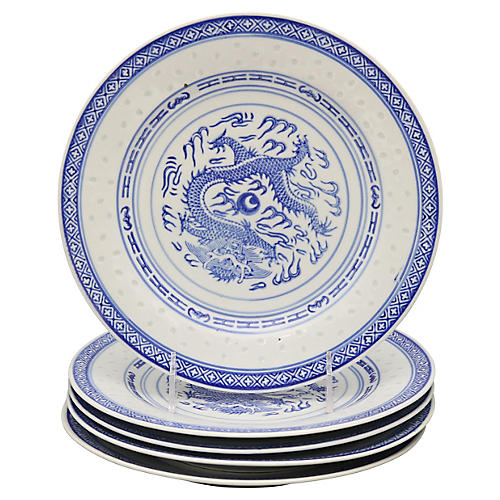 """Chinese """"Blue Rice"""" Dragon Plates, S/5"""