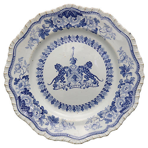 19th-C. Armorial Crest Wall Plate