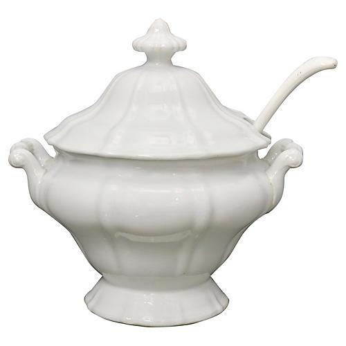 French Porcelain Soup Tureen w/ Ladle
