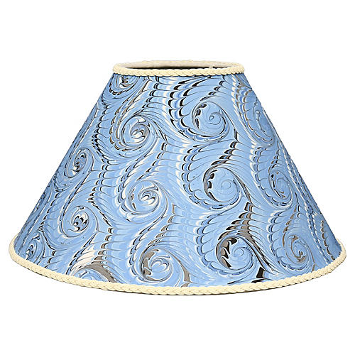 Vintage hand-marbled paper lampshade. H