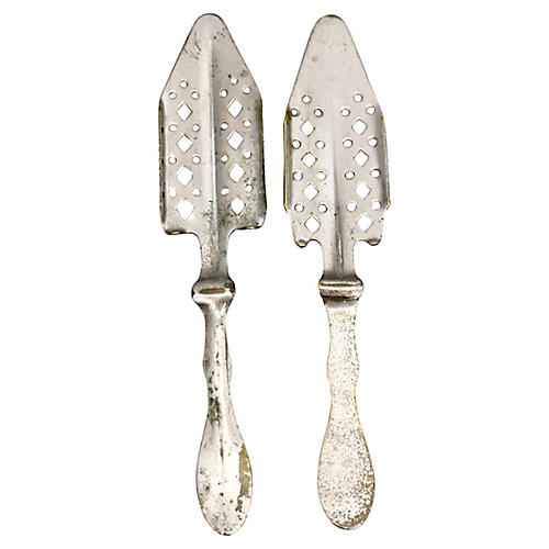 French Silver-Plate Absinthe Spoons, S/2