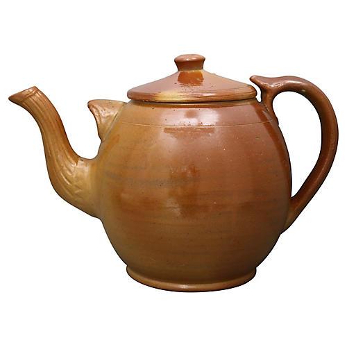 Oversize Antique Stoneware Teapot