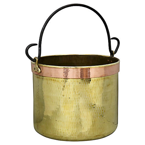 Antique French Hand-Forged Brass Bucket