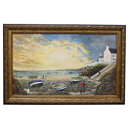 Mid-Century French Seaside Painting