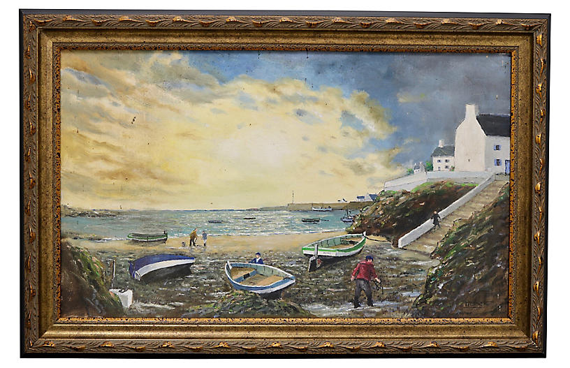 Midcentury French Seaside Painting