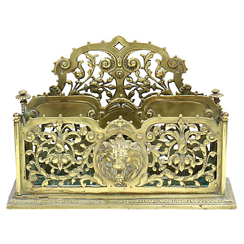Antique English Lion's Head Letter Rack