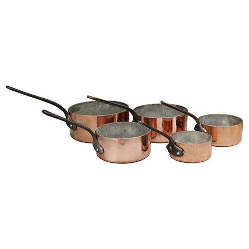Professional French Copper Pans, S/5