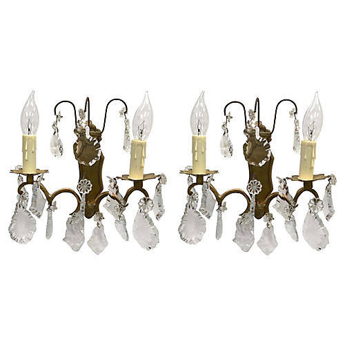 French Crystal Wall Sconces, Pair