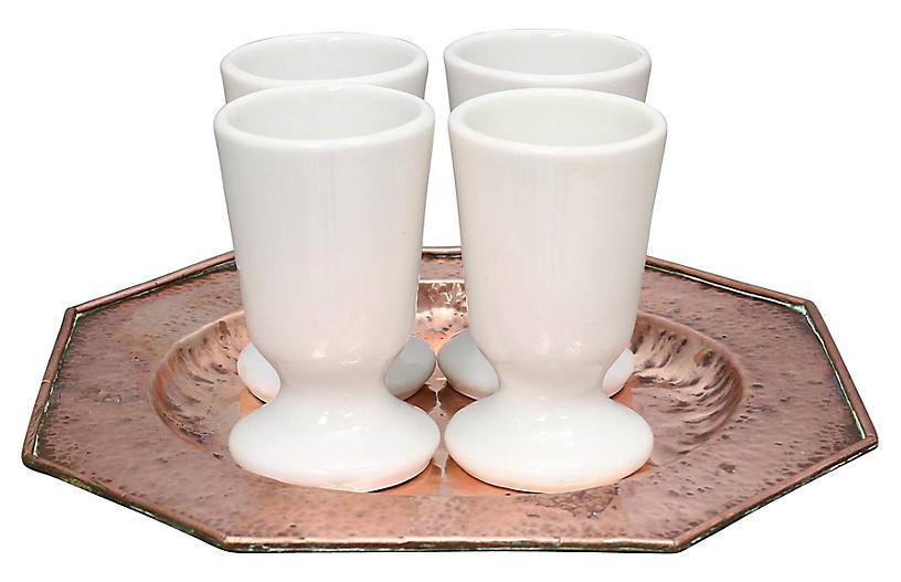 French Copper & Ceramic Coffee Set, 5Pcs
