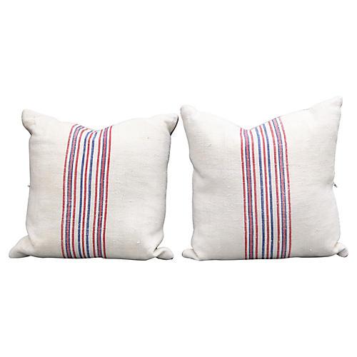 Antique French Grain-Sack Pillows, Pair
