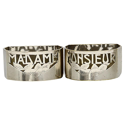 "French ""Madam / Monsieur"" Napkin Rings"